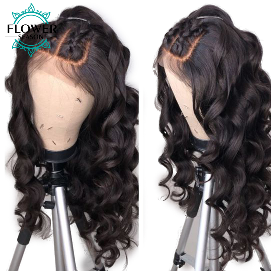 FlowerSeason Pre Plucked Brazilian Full Lace Human Hair Wigs With Baby Hair Remy Hair Glueless Lace Wig Bleached Knots Wavy