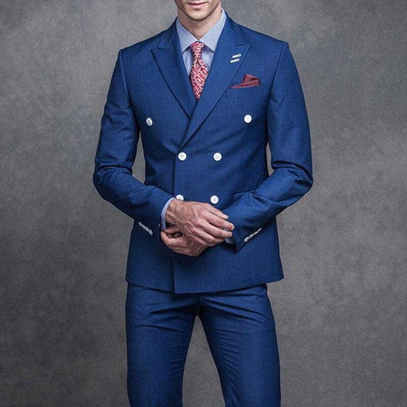 Hommes Revers Culminé Boutonnage Deux 2018 Formelle Pantalon Pièces As Fumer D'affaires Marié Veste Costumes Mariage Smoking Bleu De Image Double Costume The d0Yq8dw