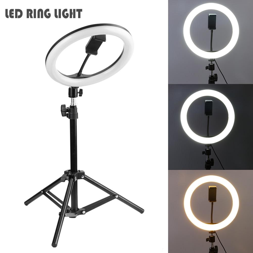 Anillo de luz LED para cámara de estudio 16/20/26cm Luz de vídeo regulable lámpara anular con trípode para Smartphone iPhone Selfie Show en vivo