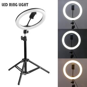 Image 1 - LED סטודיו מצלמה טבעת אור 16/20/26cm ניתן לעמעום וידאו אור טבעתי מנורת עם חצובה עבור Smartphone iPhone Selfie חיה