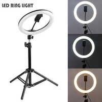 LED estudio Cámara anillo luz 16/20/26cm Luz de vídeo regulable lámpara anular con trípode para Smartphone iPhone Selfie en directo.