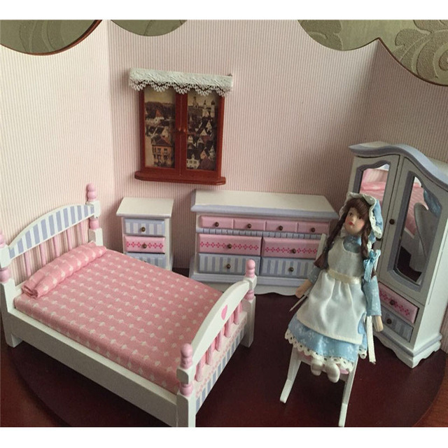 Merveilleux Doub K 1:12 Dollhouse Furniture Toys White U0026 Pink Miniature Bed Cabinet Bedroom  Sets Pretend Play Toys For Children Girls Dolls