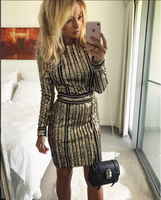 New Bandage Dress Gold Long Sleeves Fashion Luxury Celebrity Leisure Cocktail Party Dress L2007