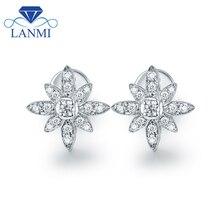 Серьги-гвоздики в форме цветка SI с бриллиантами, Настоящее 18 к белое золото, прекрасный дизайн для невесты, свадебные ювелирные изделия,, подарок