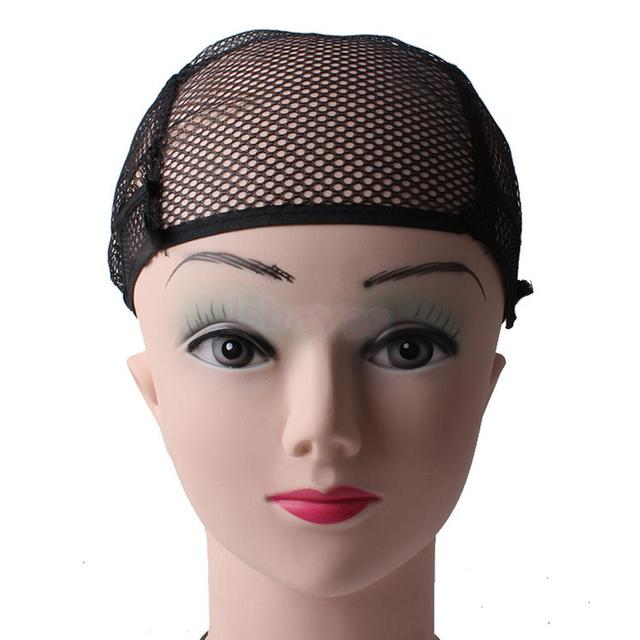 2Pcs Stretchable Fishnet Wig Cap Hair Net Mesh Wig & Weave Elastic Crochet Cap Wig Cap For Making Wigs With Adjustable Strap 4