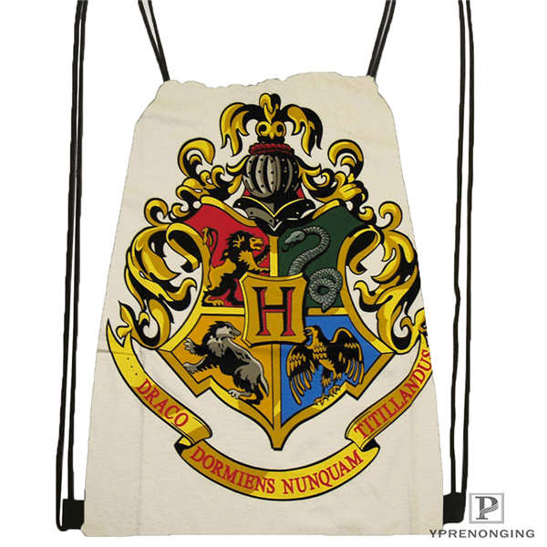 Custom Harry_potter_hufflepuff    Drawstring Backpack Bag Cute Daypack Kids Satchel (Black Back) 31x40cm#20180611-02-96