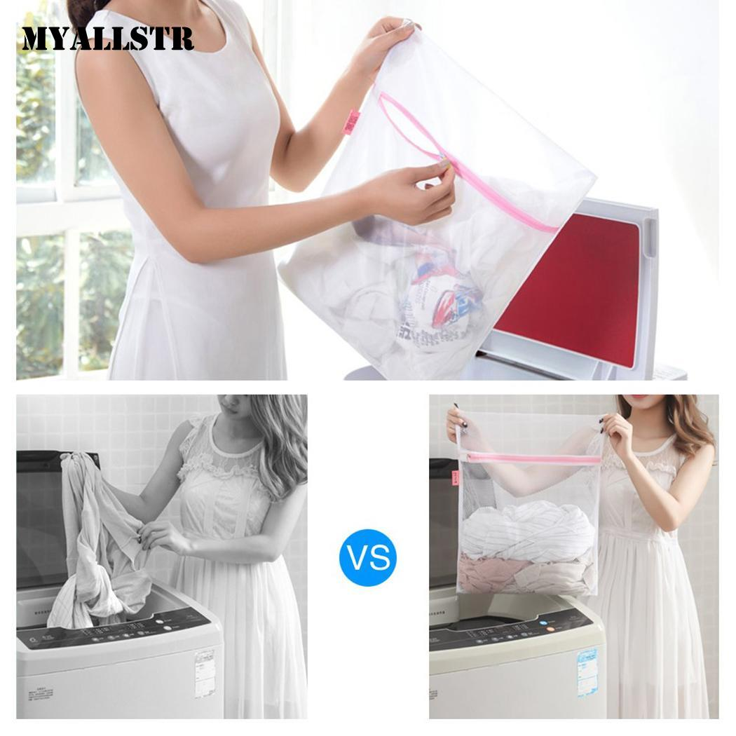Clothes Mesh Laundry Bag Underwear Washing Protective Zipper Home Square, Cylindrical Organizer Pink Bags