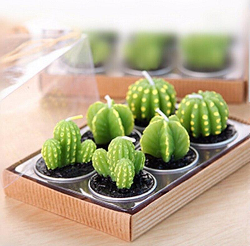 6 pz/set Complementi Arredo Casa Rare Mini Cactus Candela Tavolo Da Tè Luce Casa Giardino Impianto di Simulazione di Candela Decorativa di Cerimonia Nuziale Candele
