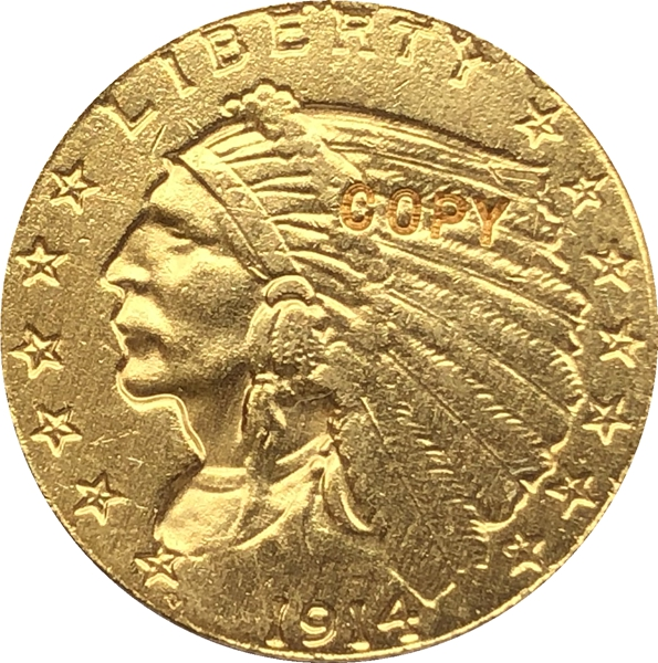24-K gold plated <font><b>1914</b></font> $2.5 GOLD Indian Half Eagle Coin Copy Free shipping image