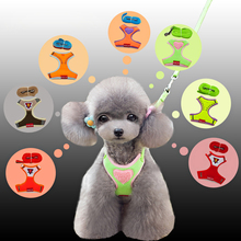 dog harness and leash set Breathable mesh fabric vest retractable Reflective comfortable dogs collars harnesses