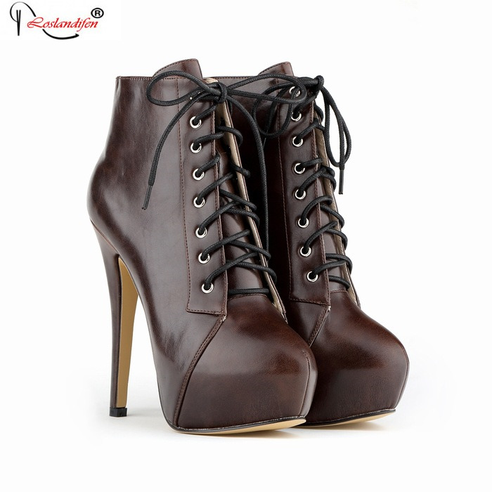 Sexy Short Boots High Heels Thin Heel Round Toe Platform Pumps Lace Up Shoes Soft Leather Fashion Boots SMYNLK-B0124 jialuowei women sexy fashion shoes lace up knee high thin high heel platform thigh high boots pointed stiletto zip leather boots