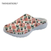 Twoheartsgirl Cute Red Panda Printed Sippers Cartoon Women Mesh Flats Shoes Breathable Home Flats Shoes Outside Sandals Slippers