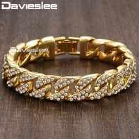 Davieslee 14mm 20cm hommes Bracelet pour femmes bijoux glacé sur bordure chaîne cubaine or jaune rempli pavé strass GB403