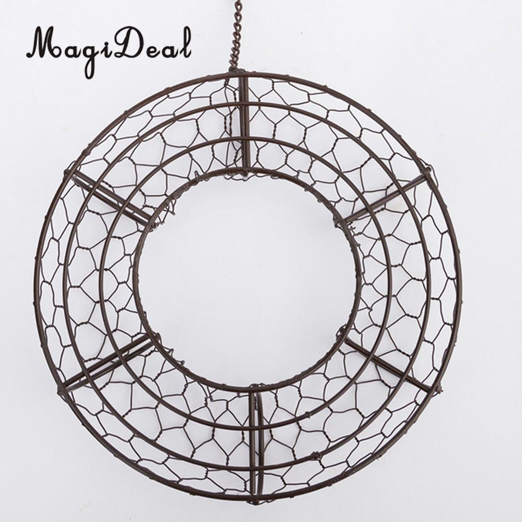 MagiDeal Iron Wire Wreath Frame Succulent Pot Metal Hanging ...