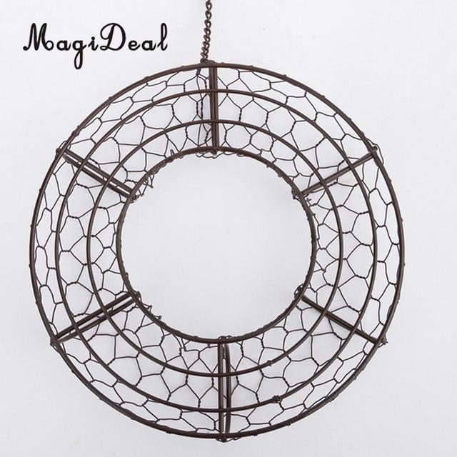MagiDeal Iron Wire Wreath Frame Succulent Pot Metal Hanging Planter Plant Holder-Home/Cafe/Wedding/Party Decor Geart Gift