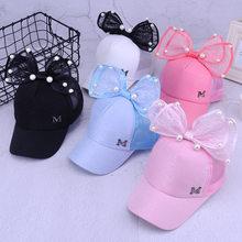 2018 verano arco perla gorra de béisbol letra M mariposa arco nudo sombrero  del verano para 4cea3a3505a