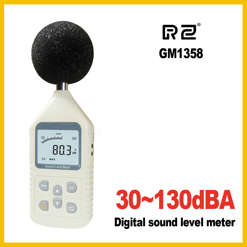 RZ GM1358 30-130dB Digital sound level meter meters noise tester in decibels LCD A/C FAST/SLOW dB screen New with carry box benetech gm1357 30 130db digital sound level meter noise tester in decibels lcd a c fast slow db screen