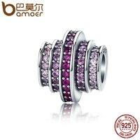 BAMOER Hot Sale 925 Sterling Silver 2 Color Gradual Change Round Wheel Melody Beads Fit Bracelets