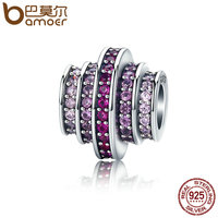 BAMOER Hot Sale 925 Sterling Silver 2 Color Gradual Change Round Wheel Melody Beads Fit Bracelets