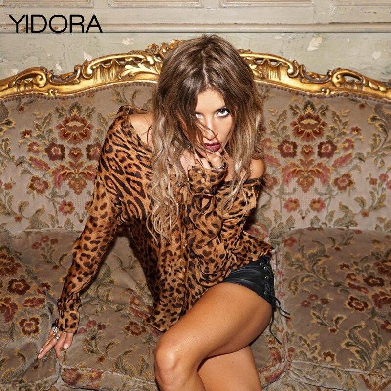 Reciente Seda Manga Alta yidora Blusa Elegante 2018 Impreso Larga Estampado Leopardo Animal Más Gama Con De Calidad Camisa Leopard nt8xx
