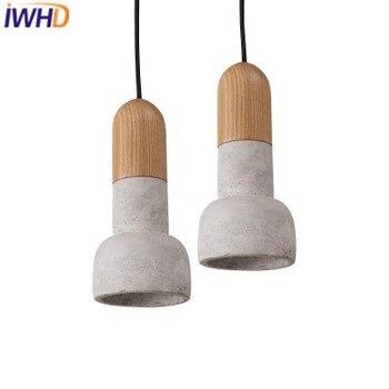 IWHD cemento Vintage Industrial iluminación colgante lámparas accesorios Loft Retro madera lámpara colgante luz cocina luminaria Lampara
