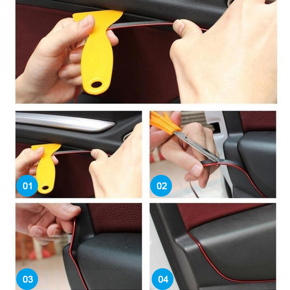 Image 5 - 5M Car Styling Interior Exterior Decoration Strips Moulding Trim Dashboard Door Edge Universal For Cars Auto Accessories bmw e90-in Interior Mouldings from Automobiles & Motorcycles