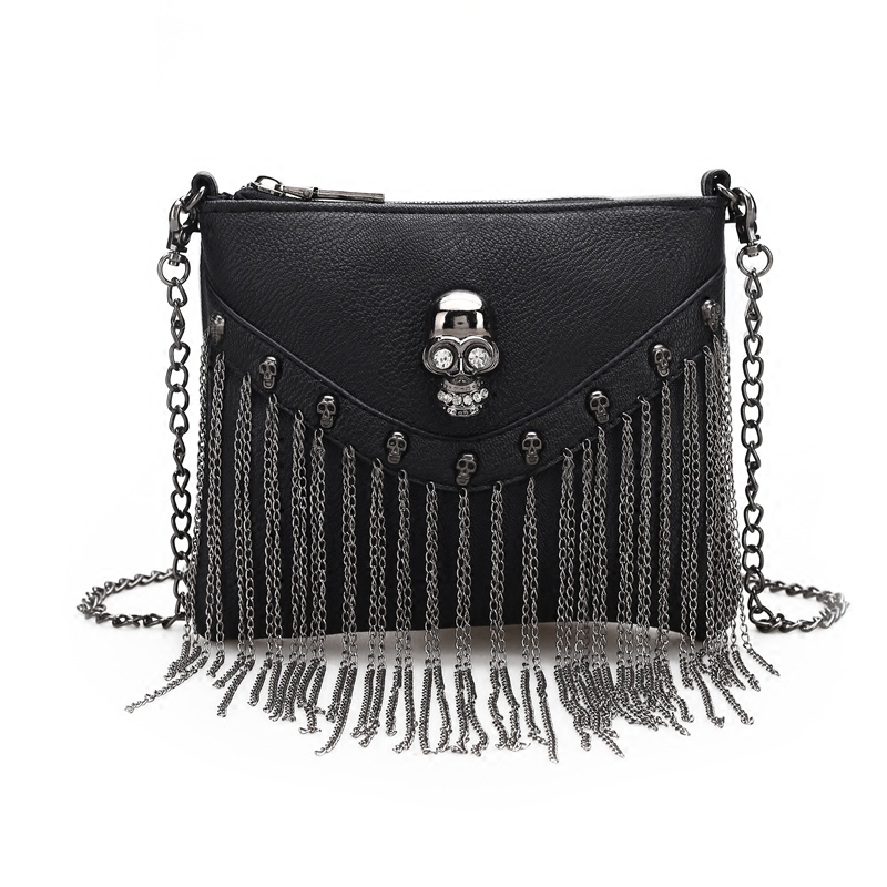 Women Small Bags Black Flap Skull Skeleton Tassel Soft PU Faux Leather Handbags Shoulder Bags Metal