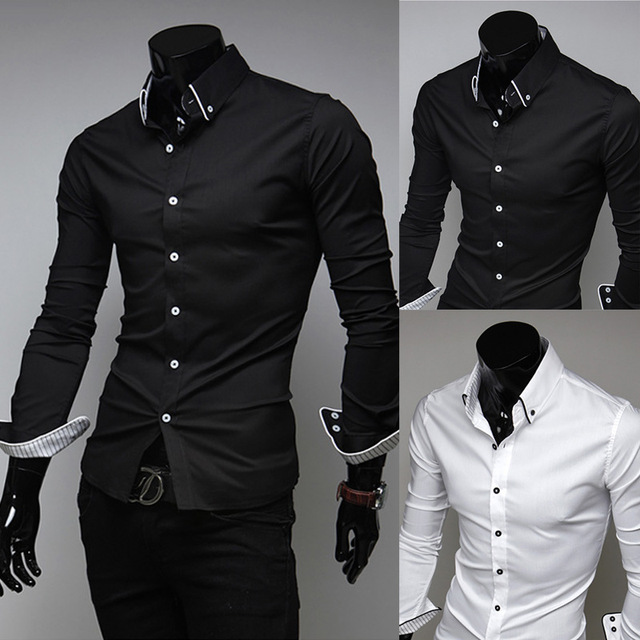 0f641dff04 US $11.4 27% OFF|Best sale American mens dress shirts men casual shirt man  spring 2014 pure color white and black clothing high quality clothes-in ...