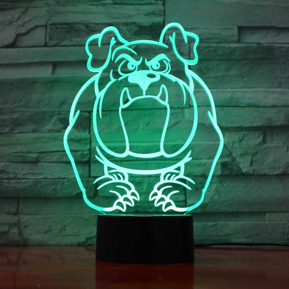 7 Colorful Pugs Dog Night Lights 3D Visual Baby Bedroom Led Animal Desk Lamp Creative Bulldog Touch Button Lighting Decor Gifts