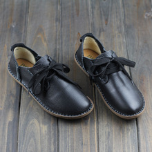 Genuine Leather Women Shoes Man-made Flat Shoes Black/Brown/Coffee Casual Lace up Loafers Ladies Moccasins(568-5)