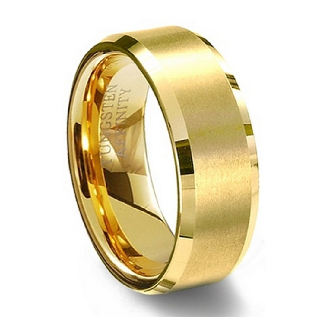 8mm Women Men's Gold Plated Alliance Tungsten Carbide Wedding Band Ring for Bridal Jewelry Male Anillos Full Size 4 to 14 TU051R