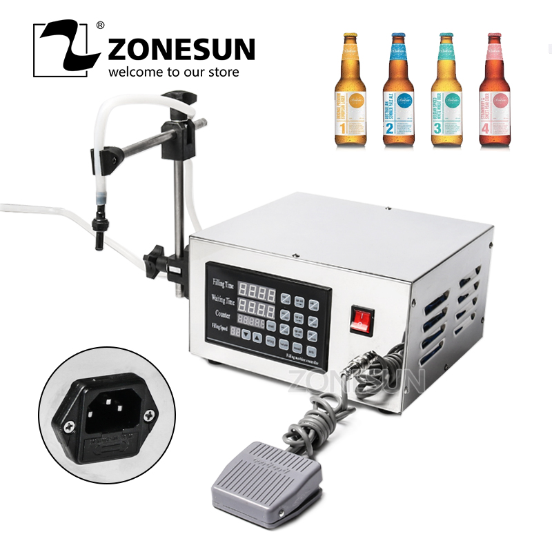 ZONESUN 220V/110V Stainless Steel 304 Numerical Control Liquid Filling Machine 3.2L/min Water GMP Labeled Auto Liquid Filler