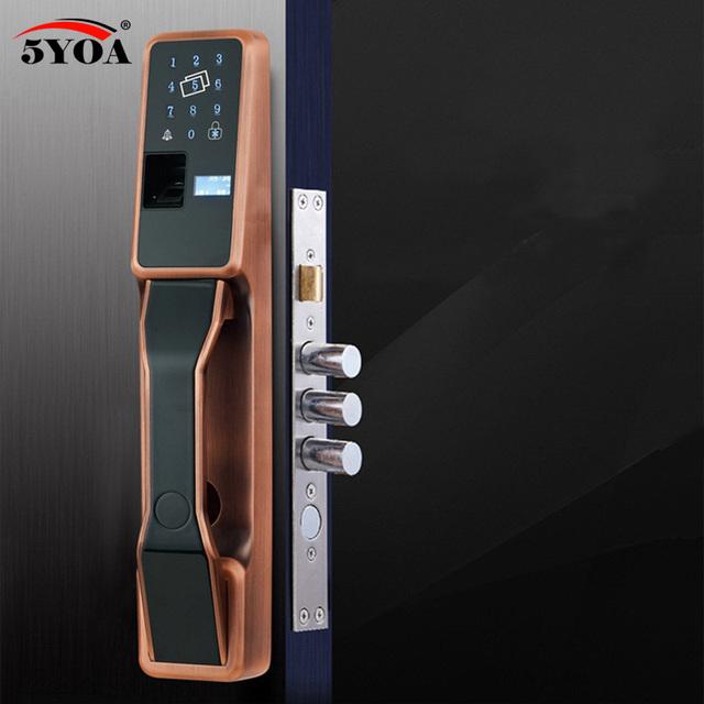 Fingerprint Lock Automatic RFID Electric Home Security Smart Lock Electronic Door Lock Fingerprint Identification Swipe Lock