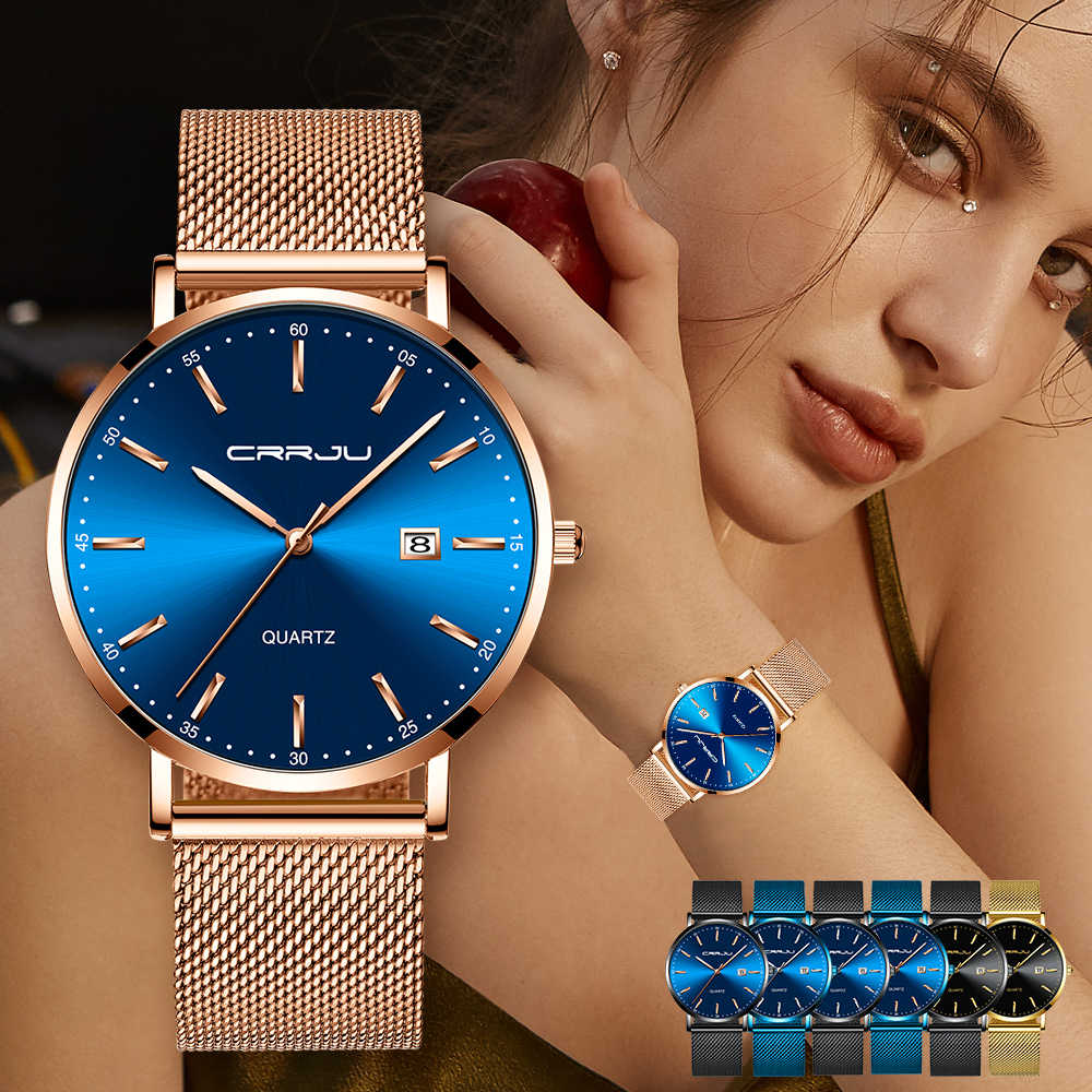 CRRJU יוקרה אופנה אישה צמיד שעון נשים מזדמן עמיד למים קוורץ גבירותיי שמלה שעונים מתנת מאהב שעון relogio feminino