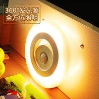 Wireless Night Light Mini Motion Sensor LED Night Light Smart Human Body for Cabinet Aisle Staircase Wardrobe Closet