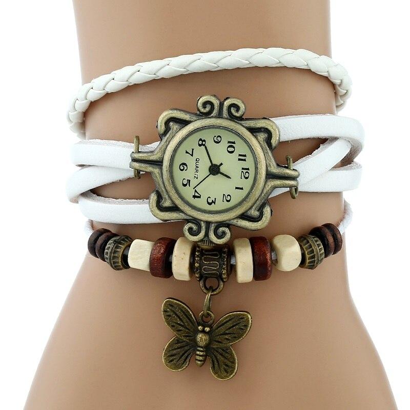 Gnova платины Кожаный Браслет Бабочка Леди Винтаж наручные часы мятно-зеленый розовый фиолетовый Этническая мода A887 - Цвет: Белый