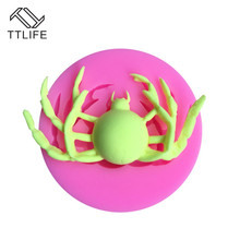 TTLIFE Halloween Spider Silicone Mold Fondant Cake Dessert Decorating Tools Pastry Confeitaria Sugarcraft Kitchen Baking Moulds ttlife 3pcs geometry cookie cutter rectangle fondant cake biscuit mold sugarcraft decorating tools pastry dessert baking moulds
