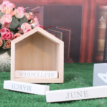 1 Pcs Vintage House Shape Perpetual Calendar Wood Block Home Office Decor Hot Sale