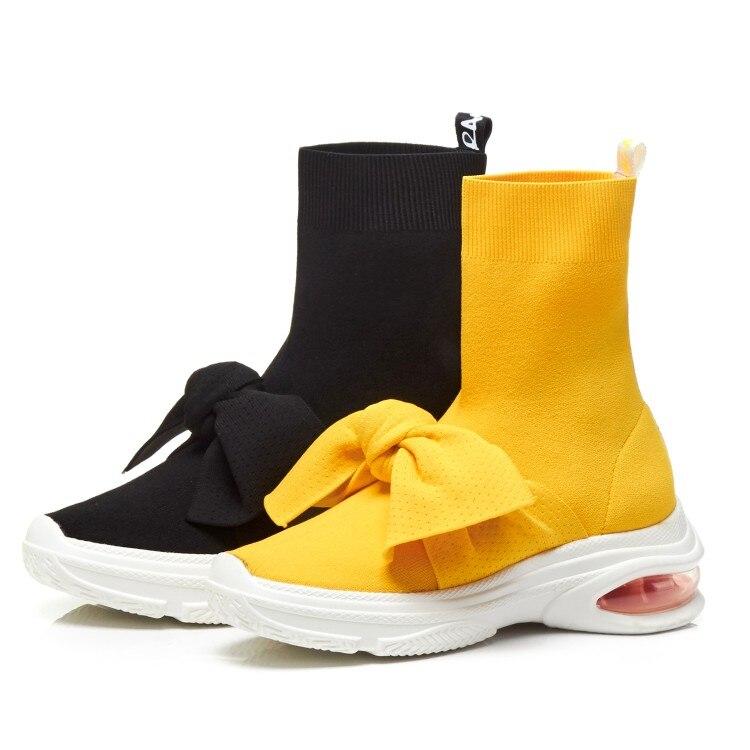 Y {zorssar} Negro Jóvenes Invierno Elástica Botas Moda Las Tobillo Botines Mujeres Calcetines 2018 De amarillo Zapatos Plana Plataforma Corto Tela CwqZC