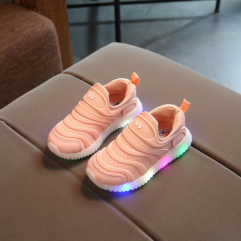 2018 Soft candy color cute children tennis shoes rubber breathable cool baby girls boys sneakers excellent kids LED toddlers