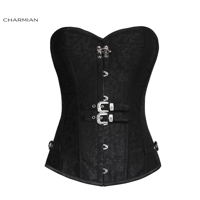 e8e021158ee Charmian Plus Size Gothic Steampunk Corset for Women Black Steel Boned  Brocade Overbust Corset with Double Buckles