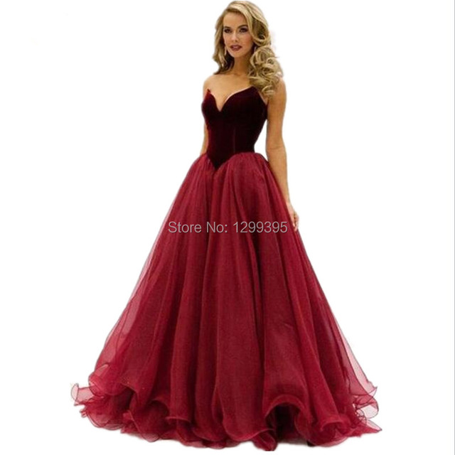 Elegant Stunning Burgundy Prom Dresses Sweetheart Maroon Party Gowns ...