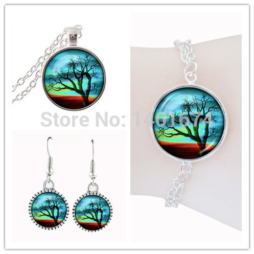 tree of life jewelery sets for woman glass cabochon plant photo set jewelry holiday gift dubai jewelry sets parure women jewelry