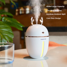 Night Light Lamp with 450ML Air Humidifier USB Aroma Essential Oil Diffuser For Home Office Aromatherapy Humidificador Difusor недорого