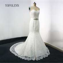 Stunning Sweetheart Lace Mermaid Wedding Dresses 2017 with Beaded Sash Zipper Back Bridal Gowns Custom made