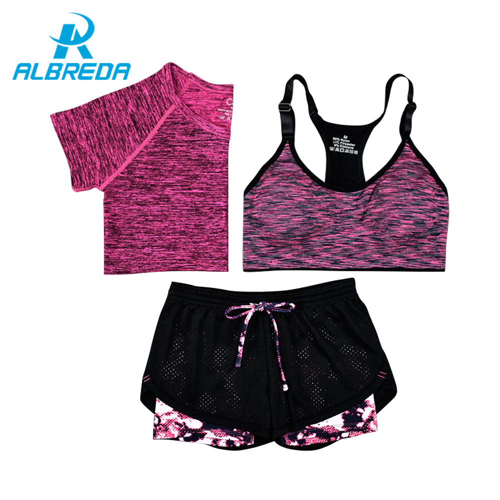 ALBREDA New Women Yoga Sport Suit Bra T-Shirt Shorts 3 Piece Female Summer Sportswear Sets Fitness Gym Running Leisure Clothes new yoga suit fitness sportswear running exercise tracksuits for women yoga sets breathable jacket t shirt bra pants sport suits