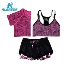 ALBREDA Nouveau Femmes Yoga Sport Costume Soutien-Gorge T-Shirt Shorts 3 Pièce Femelle D'été de Sport Définit Fitness Gym Courir Loisirs Vêtements