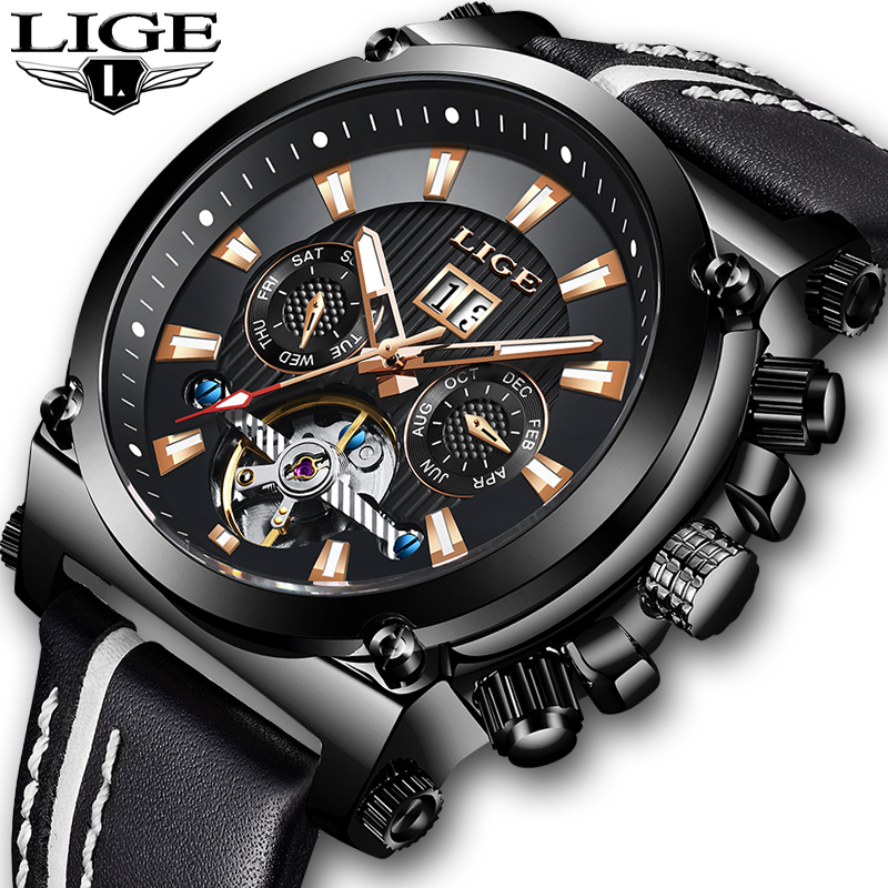 LIGE Mens Watches Top Brand Luxury Clock Automatic Mechanical Watch Men Business Waterproof Sport Wrist Watch Relogio MasculinoLIGE Mens Watches Top Brand Luxury Clock Automatic Mechanical Watch Men Business Waterproof Sport Wrist Watch Relogio Masculino