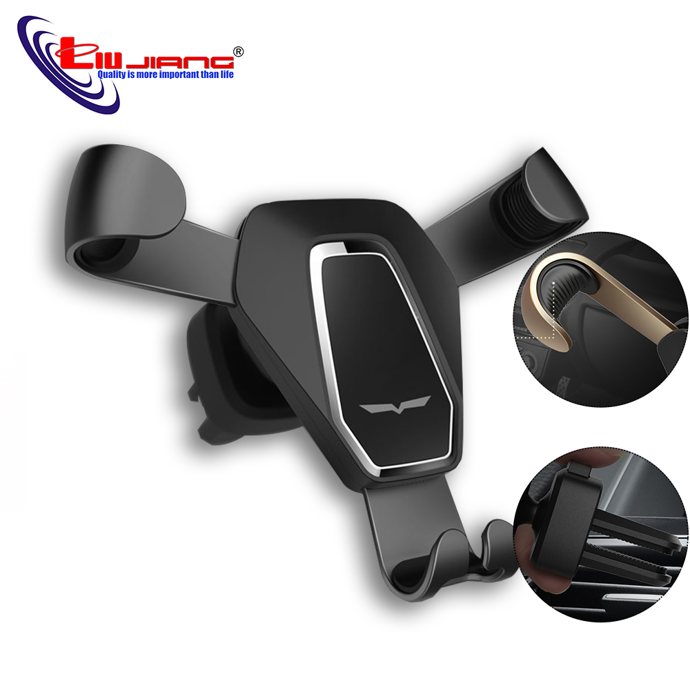Liujiang Gravity Car Phone Holder for iPhone X Xs Mount Holder Stand GPS Phone Holder for Samsung S8 S9 GPS Metal Mobile Holder