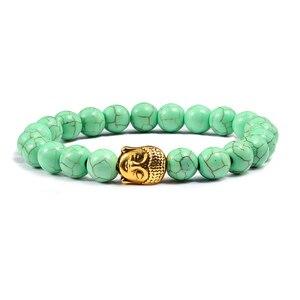 Image 4 - טרנדי טבעי אבן לבה גדיל צמידי מתכת בודהה ראש חרוזים תפילת קסם צמידים & צמידי תכשיטי עבודת יד מתנות